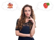 Beautiful young woman thinking Royalty Free Stock Photo