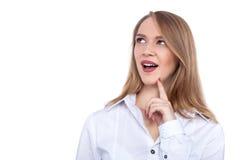 Beautiful young woman thinking - Stock Image Stock Image