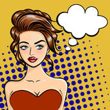 Beautiful young woman with a thought bubble in cartoon style. Pop art style. Vector illustration on a dot background Royalty Free Stock Photography
