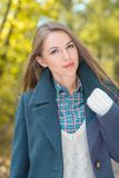 Beautiful Young Woman in Three Layer Suit Portrait Stock Photography