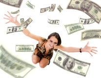 Beautiful young woman throwing mony into air Stock Photo