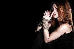 Beautiful young woman with tied arms Royalty Free Stock Photography