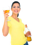Beautiful Young Woman Toasting royalty free stock photography