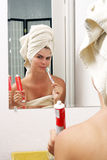 Beautiful Young Woman with Toothbrush Stock Photo