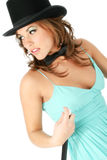 Beautiful Young Woman in Top Hat and Bow Tie royalty free stock photography