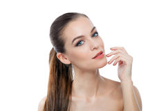Beautiful Young Woman Touching Her Face Royalty Free Stock Images