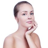 Beautiful Young Woman Touching Her Face.Fresh Healthy Skin. Stock Image