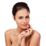 Beautiful Young Woman Touching Her Face.Fresh Healthy Skin. Stock Image