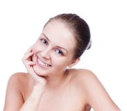 Beautiful Young Woman Touching Her Face.Fresh Healthy Skin. Royalty Free Stock Image