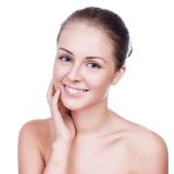 Beautiful Young Woman Touching Her Face.Fresh Healthy Skin. Royalty Free Stock Photo