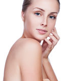 Beautiful Young Woman Touching Her Face.Fresh Healthy Skin. Stock Images