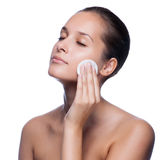 Beautiful Young Woman Touching Her Face. Royalty Free Stock Photography