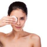 Beautiful Young Woman Touching Her Face.Fresh Healthy Skin. Stock Photography