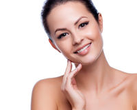 Beautiful Young Woman Touching Her Face Royalty Free Stock Image