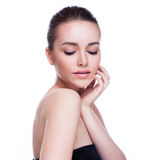 Beautiful Young Woman Touching Her Face. Royalty Free Stock Photos