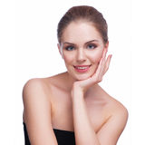 Beautiful Young Woman Touching Her Face.Fresh Healthy Skin.Isolated on White Royalty Free Stock Photo