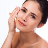 Beautiful Young Woman Touching Her Face.Fresh Healthy Skin. Royalty Free Stock Photography