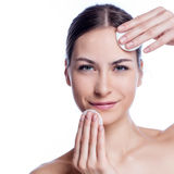 Beautiful Young Woman Touching Her Face.Fresh Healthy Skin. on White Royalty Free Stock Photos