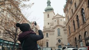 Beautiful Young Woman Tourist In Prague, Making Selfie or Taking Photo With Her Mobile Phone, Travelling Concept. 4K Stock Images