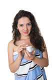 Beautiful young woman with towel around her body Royalty Free Stock Image