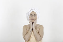 Beautiful young woman in towels feeling healthy lifestyle Royalty Free Stock Photography