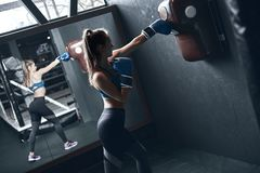 Woman boxing. Beautiful young woman while training boxing in the gym stock photography