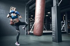 Woman boxing. Beautiful young woman while training boxing in the gym royalty free stock photography