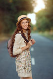 Beautiful young woman traveler portrait. Stock Photography