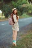 Beautiful young woman traveler portrait. Royalty Free Stock Photos