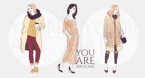 Beautiful young woman with trend hairstyle in a fashion jacket, pants in glasses with coffee. Vector illustration. Beautiful hipster young woman with trend vector illustration