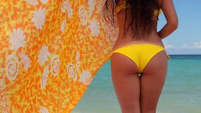 Beautiful young woman on tropical beach. Summer vacation in Punta Cana, Dominican Republic.  stock video footage