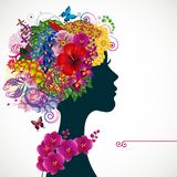 Beautiful young woman with tropicl flowers in heir hair. Vector illustration greeting card beauty and fashion Stock Photo