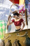 Beautiful woman trying VR headset and exploring another world. Beautiful young woman trying VR headset and exploring another world royalty free stock photography