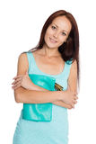 Beautiful young woman in turquoise dress stock photos