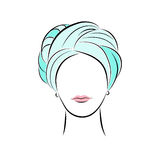 Beautiful young woman in turquoise turban. Vector fashion sketch in hand drawing style for your design. EPS10 Royalty Free Stock Image