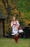 Beautiful young woman in Ukrainian costume Royalty Free Stock Photos