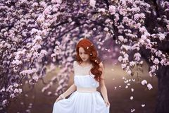 Beautiful young woman under the flowering tree Stock Images