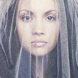 Beautiful young woman under a veil. Portrait of beautiful young woman under a veil Stock Photography