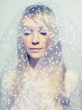 Beautiful young woman under a veil Royalty Free Stock Image