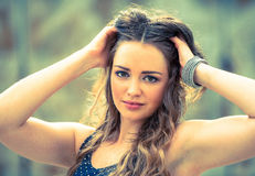 Beautiful young woman in urban environment Royalty Free Stock Image