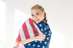 Young woman with us flag Stock Image