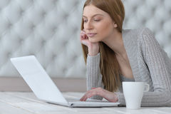 Beautiful young woman using computer Royalty Free Stock Images