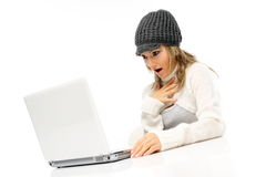 Beautiful young woman using laptop Royalty Free Stock Photo