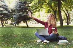 Beautiful young woman using a laptop outdoors. Beautiful young freelancer working on laptop and greeting someone, sitting on the grass outdoors in the park stock photography