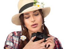 Beautiful Young Woman Using a Vintage Camera Royalty Free Stock Photo