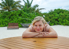 Beautiful young woman on vacation on tropical island Royalty Free Stock Images