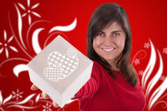 Beautiful young woman with valentine present box Royalty Free Stock Photo
