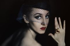 Beautiful young woman in  veil with  ring Royalty Free Stock Images