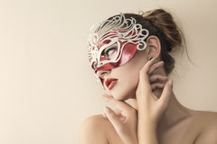 Beautiful young woman in venetian Stock Photos
