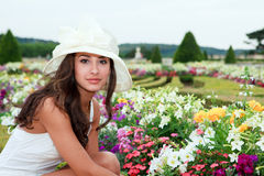 Beautiful Young Woman in Versailles Stock Photography